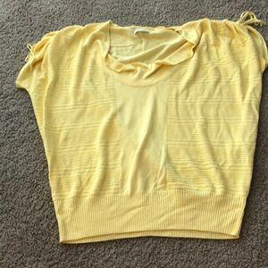 New York & Company yellow knit Blouse Sz L